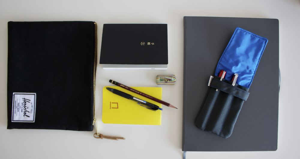 Herschel Supply medium pouch, Hobonichi Techo, Nock Co DotDash pocket notebook, Magic Koh-I-Noor eraser, Uniball Signo 207, Leuchtturm 1917 Master Slim, Nock Co Hightower, TWSBI 580 RB, Karas Kustoms Ink