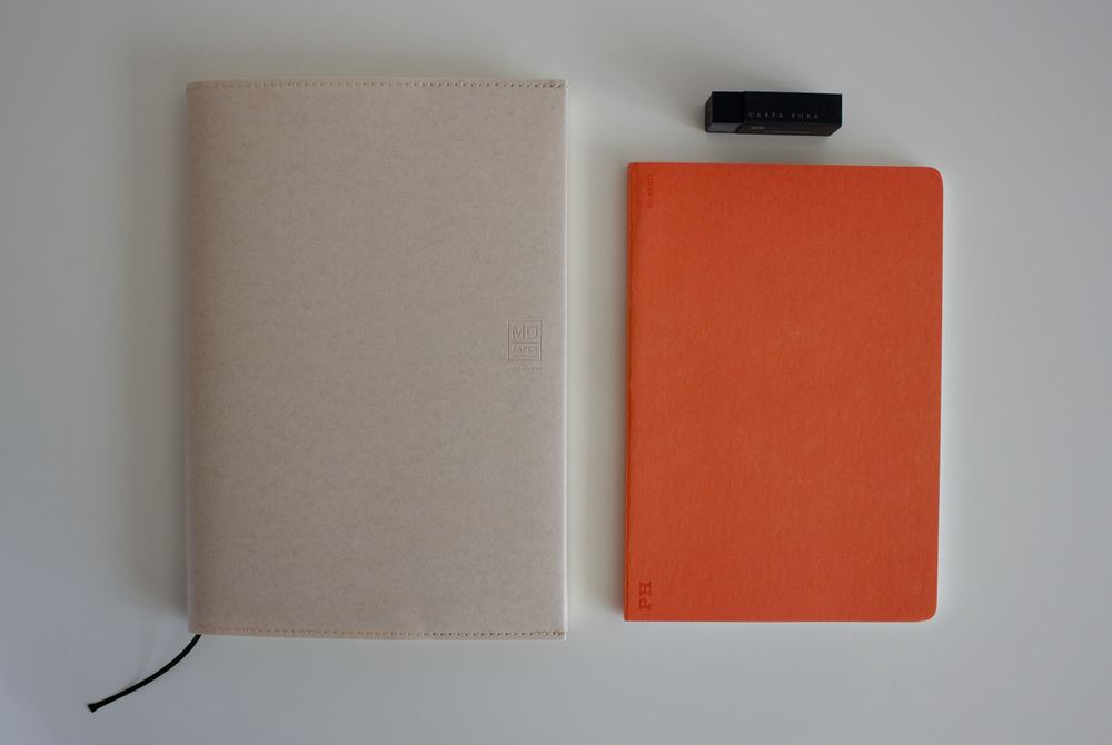 Midori MD notebook, Carta Pura eraser and a PH Stationery notebook