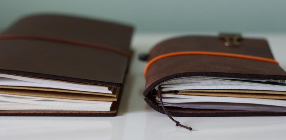 Regular Midori Travelers Notebook on the left, Passport on the right
