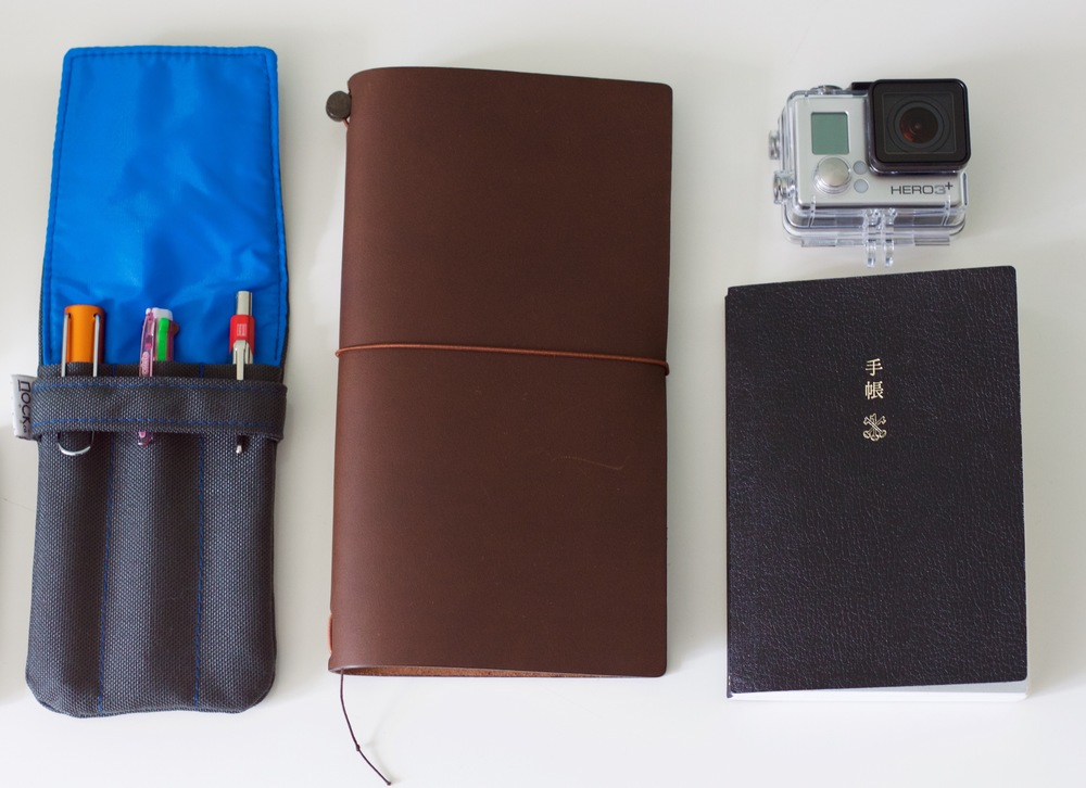 Nock Co Lookout with my essential travel pens, my MTN, Go Pro 3+ and my Hobonichi Techo