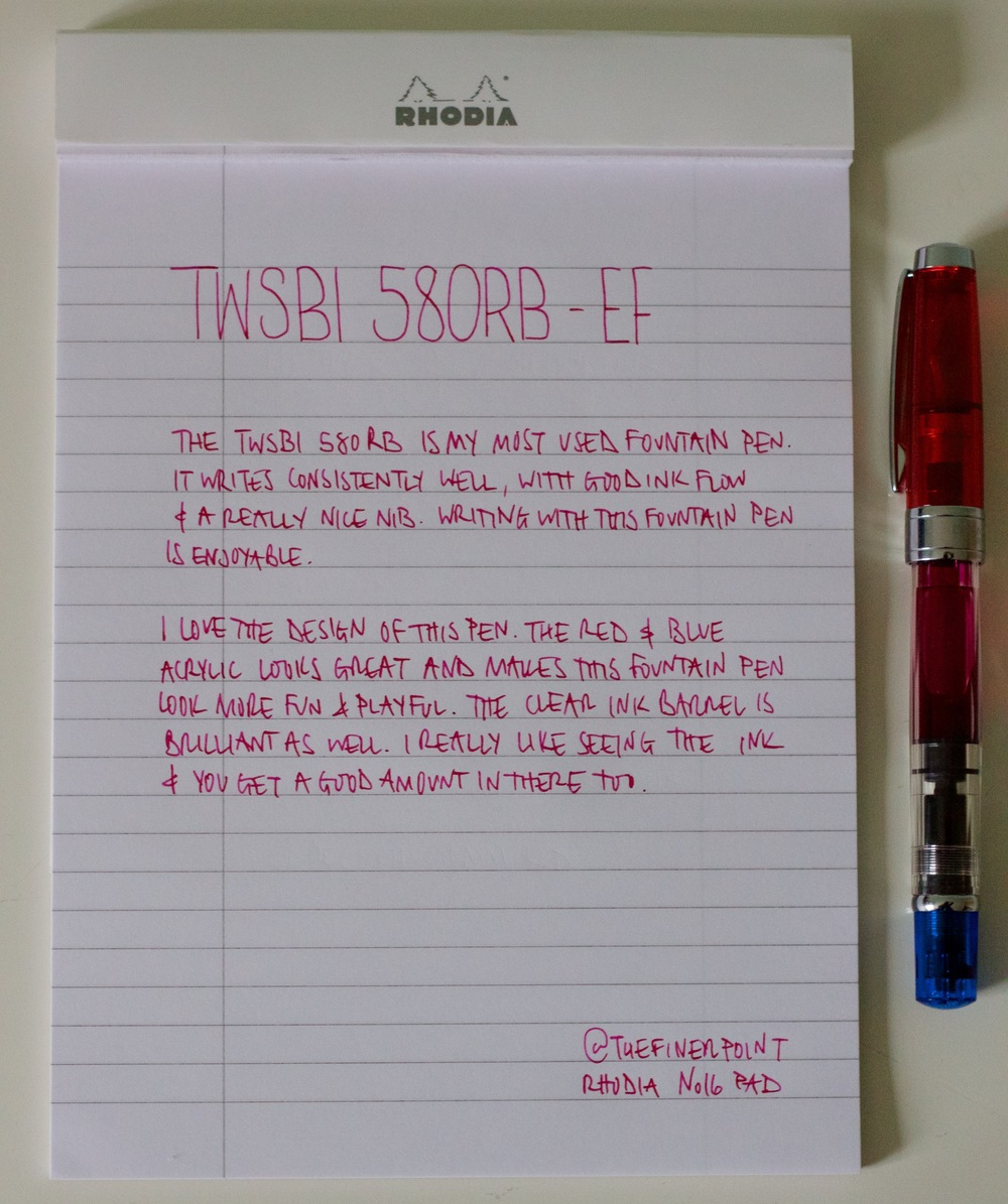 A handwritten review using the TWSBI 580RB