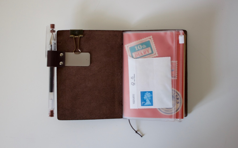 Midori medium pen clip, clear plastic midori wallet and the 2016 monthly calendar in view