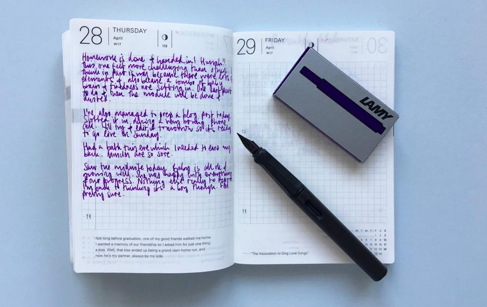 My Lamy Dark Lilac ink cartridges in use