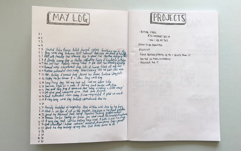 My first couple of Bullet Journal pages - May log and Projects