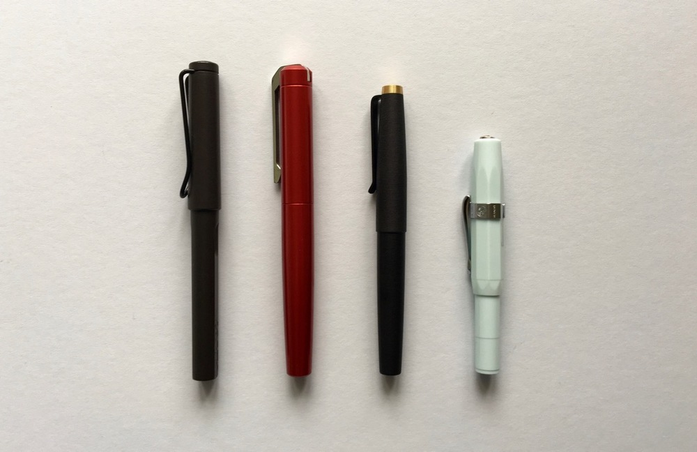 Gist size comparison against the Lamy Safari, Karas Kustoms Ink and the Kaweco Skyline Sport