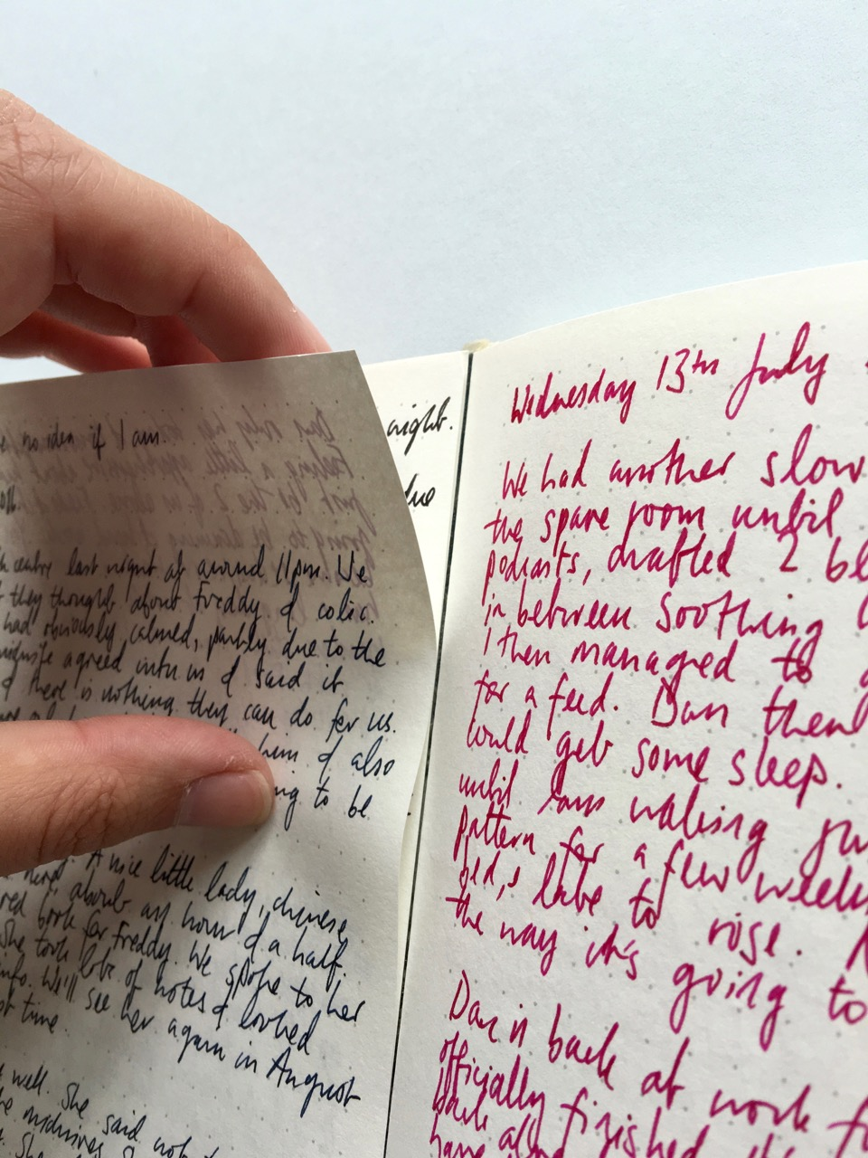 A used page beginning to come away from the notebook binding