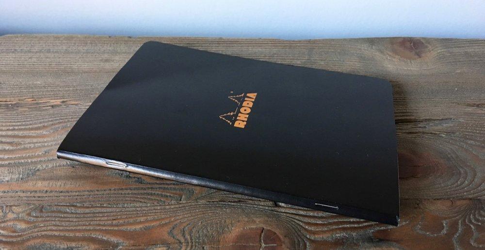 Rhodia staple bound A5 notebook in black