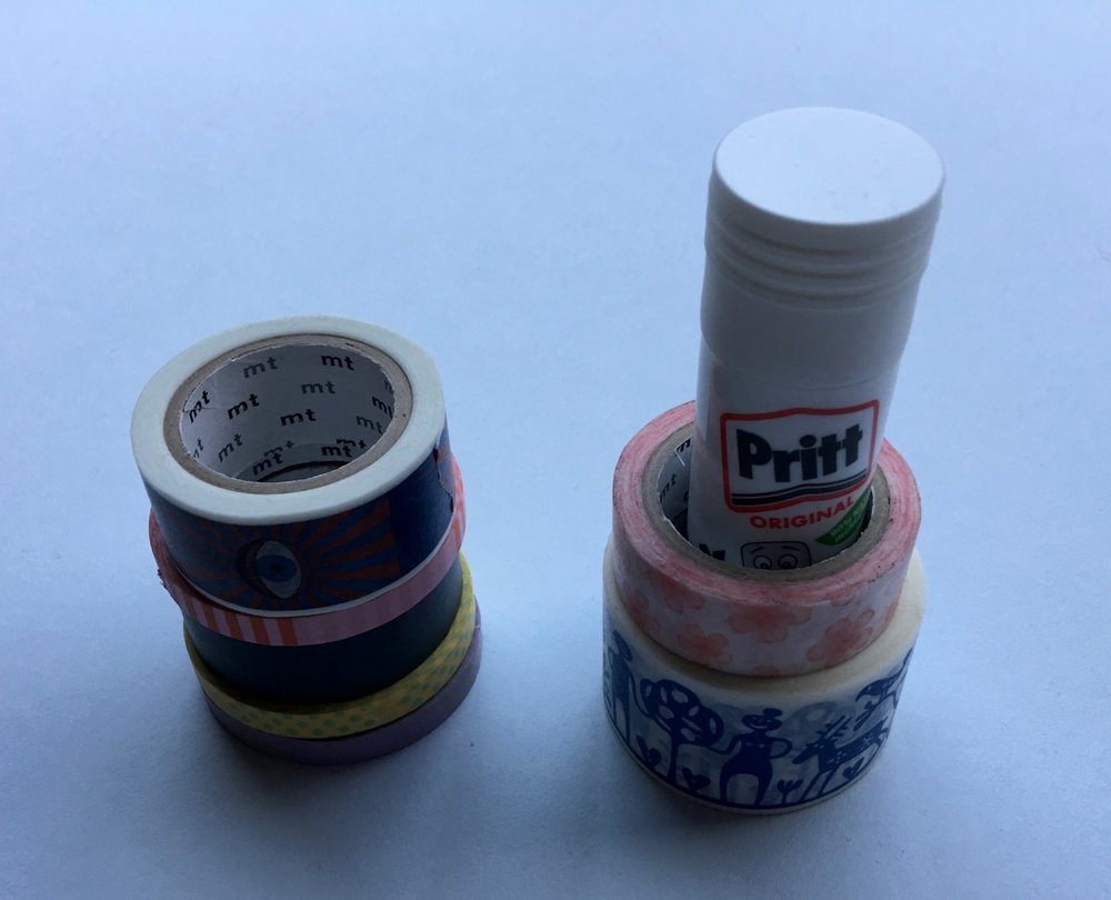 Using other stationery items as a washi holder