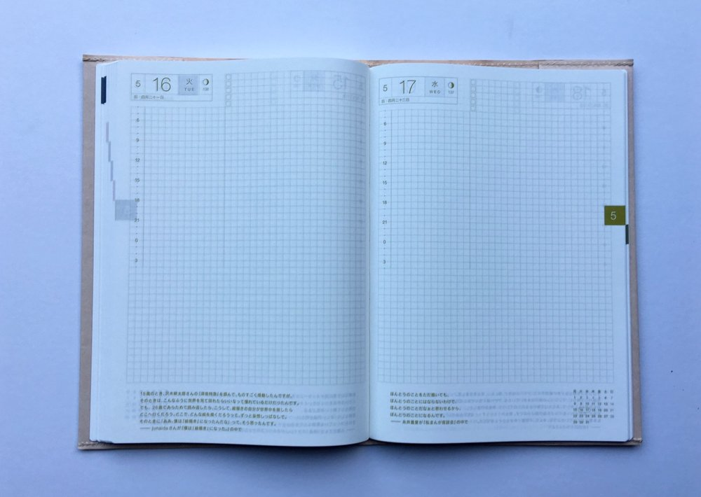 Different coloured grid pages by month