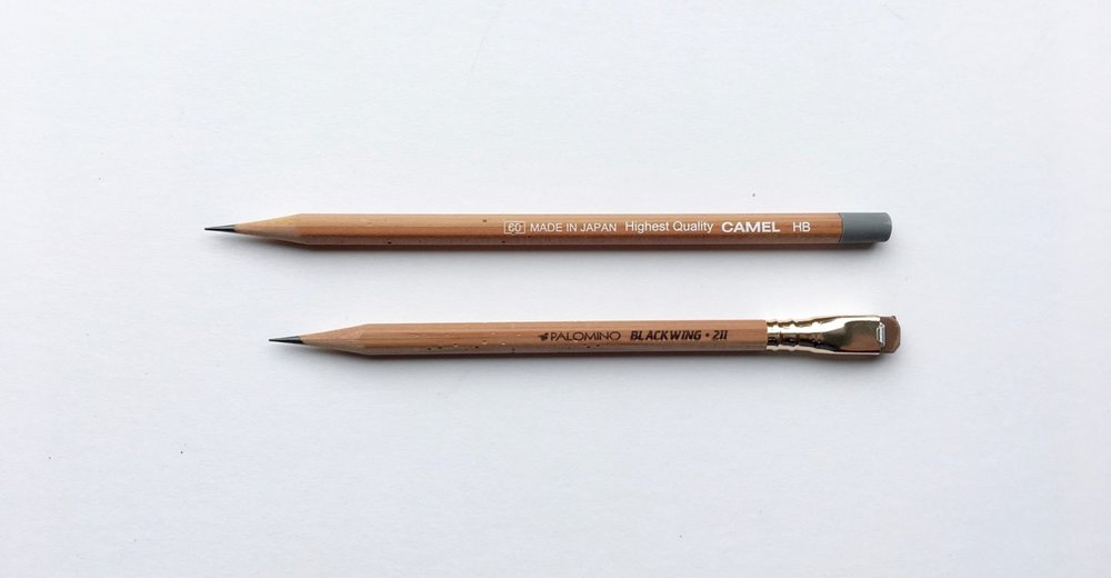 The camel against the Blackwing 211, both very similar in barrel finish