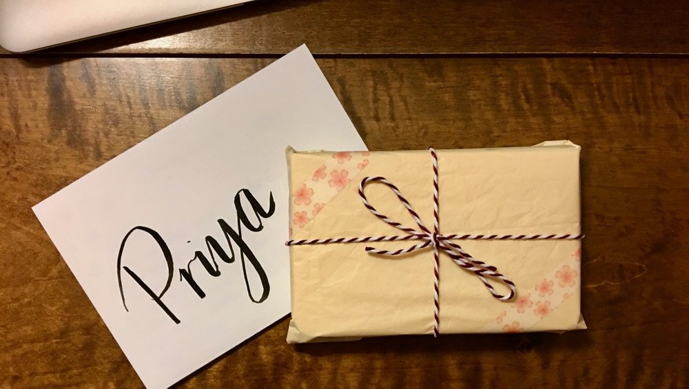 A note and a small gift