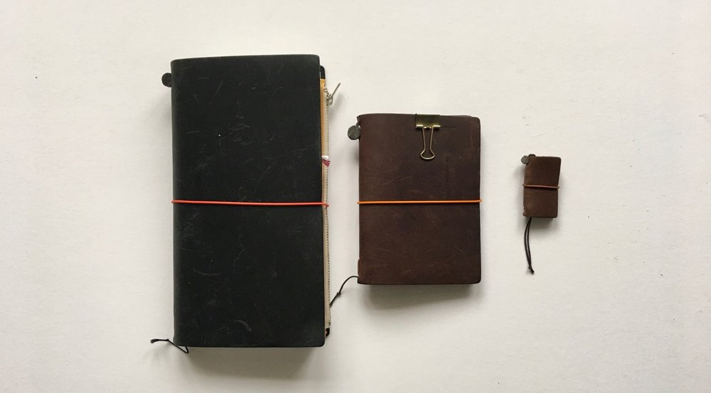 The regular, passport and mini Travelers Notebook size comparison
