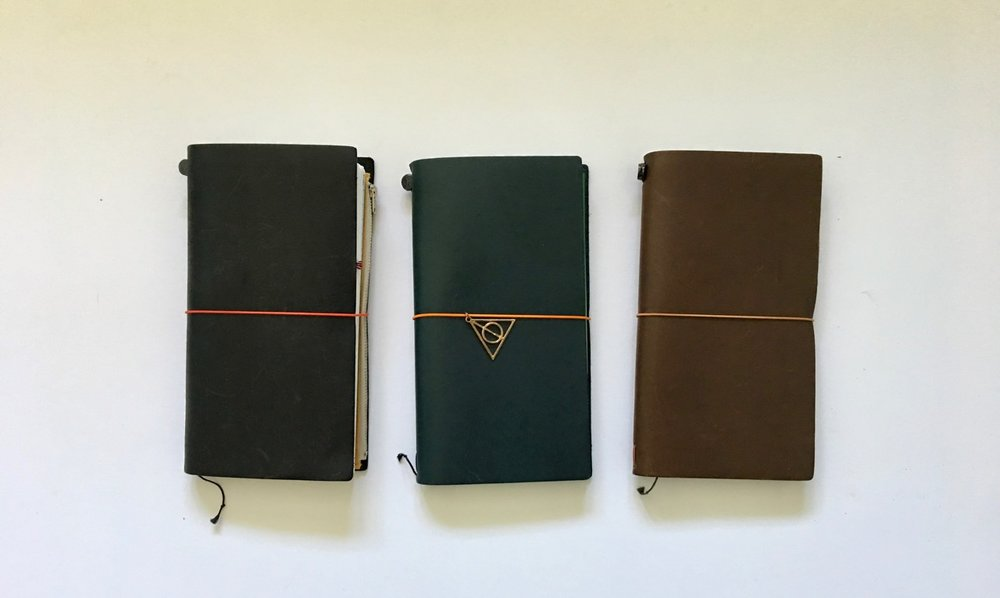 Black, Blue and Brown trio of Travelers Notebooks
