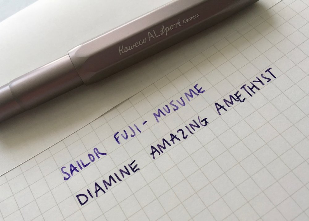 A comparison against my other purple ink, Diamines Amazing Amethyst