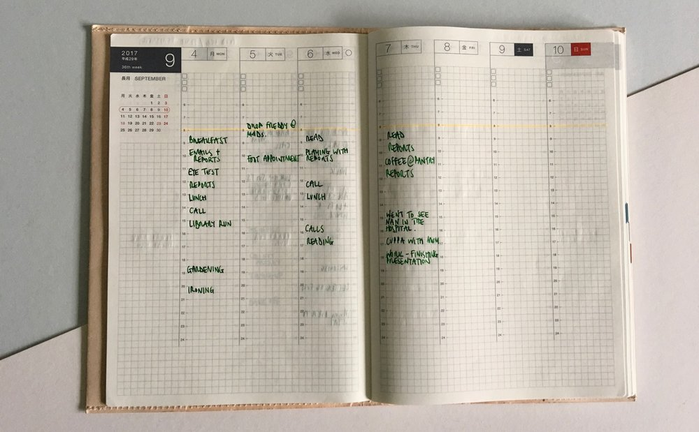 Weekly pages in the A5 Techo Cousin