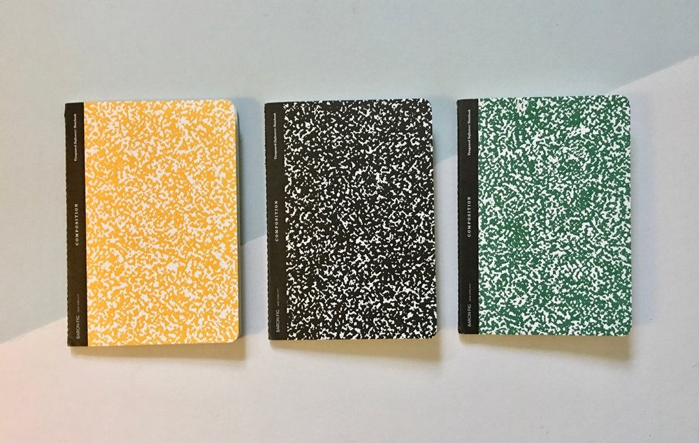 The three colours of the School Set notebooks