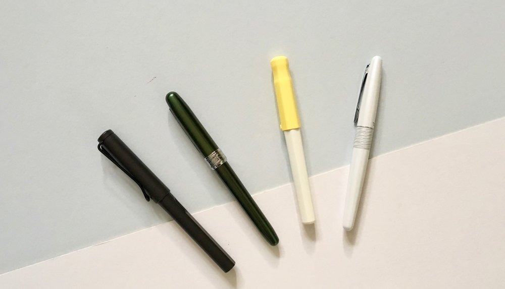 The Platinum Plasir lined-up against other entry level fountain pens, the Lamy Safari, The Pilot Kakuno and Pilot Metropolitan.