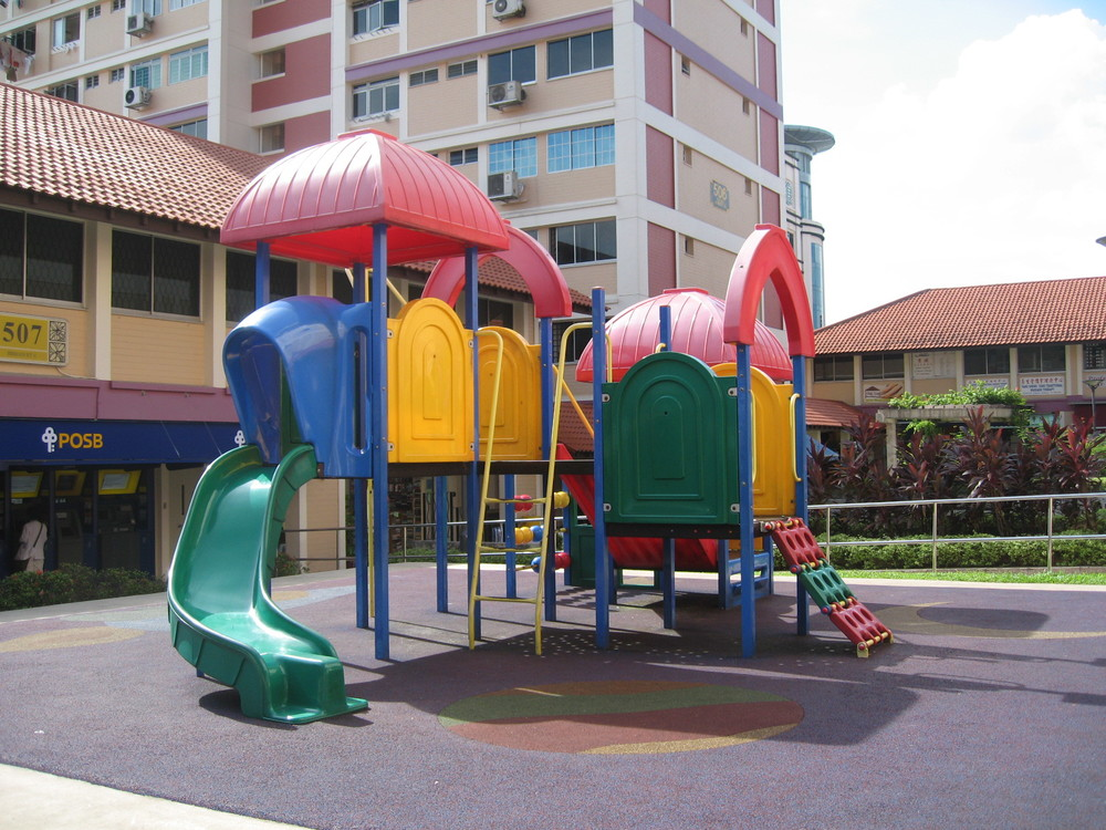 Bright colors and plastic slides are fun, but do they promote creativity? Photo Terence Ong /  Wikimedia Commons