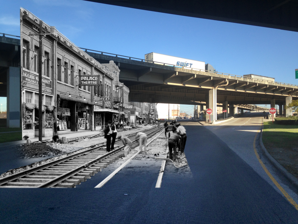 Elm Street Then/Now. Original historic image from the collections of the Texas/Dallas History and Archives Division, Dallas Public Library.