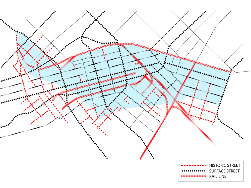 1950 Street and Rail Grid
