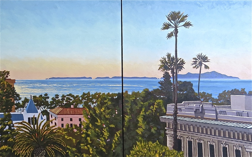 """Anacapa Island from the Botanical Garden"" oil on panel 30 x 48"
