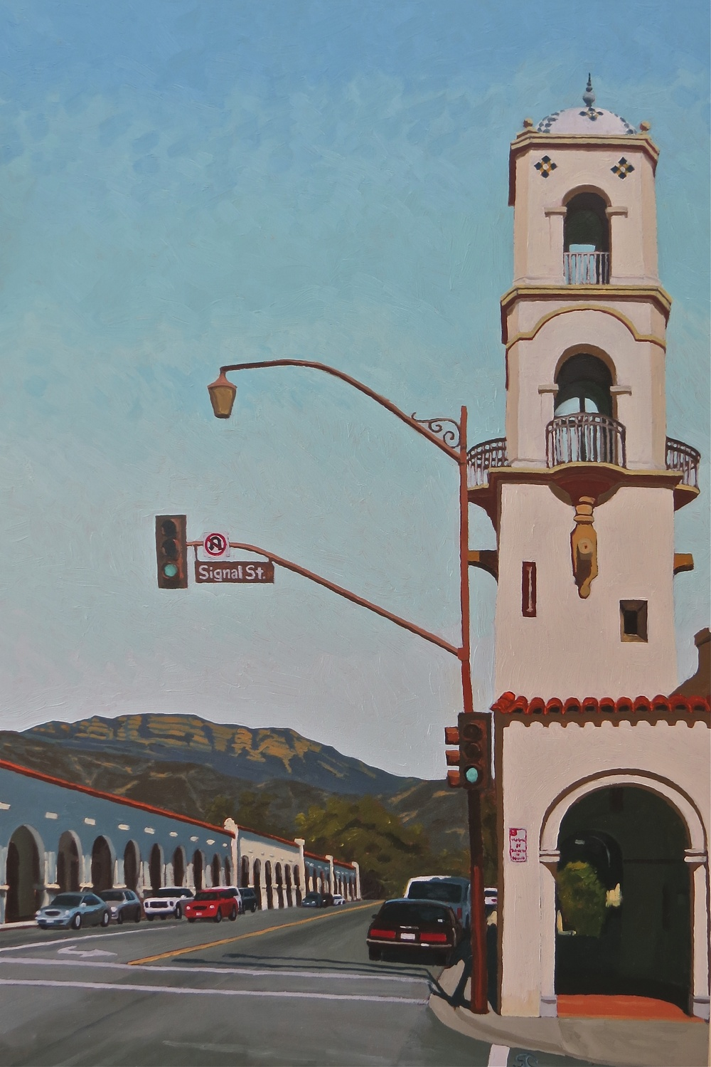 """Signal Street, Ojai"" oil on birch panel 24 x 36"
