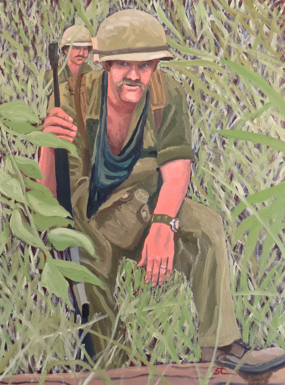 """Bud in the Jungle Near An Loc"" oil on canvas 18 x 24 sold"