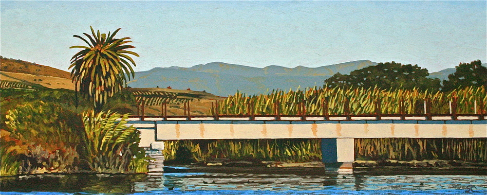 """Ventura River Estuary"" oil on birch panel 13 x 32"