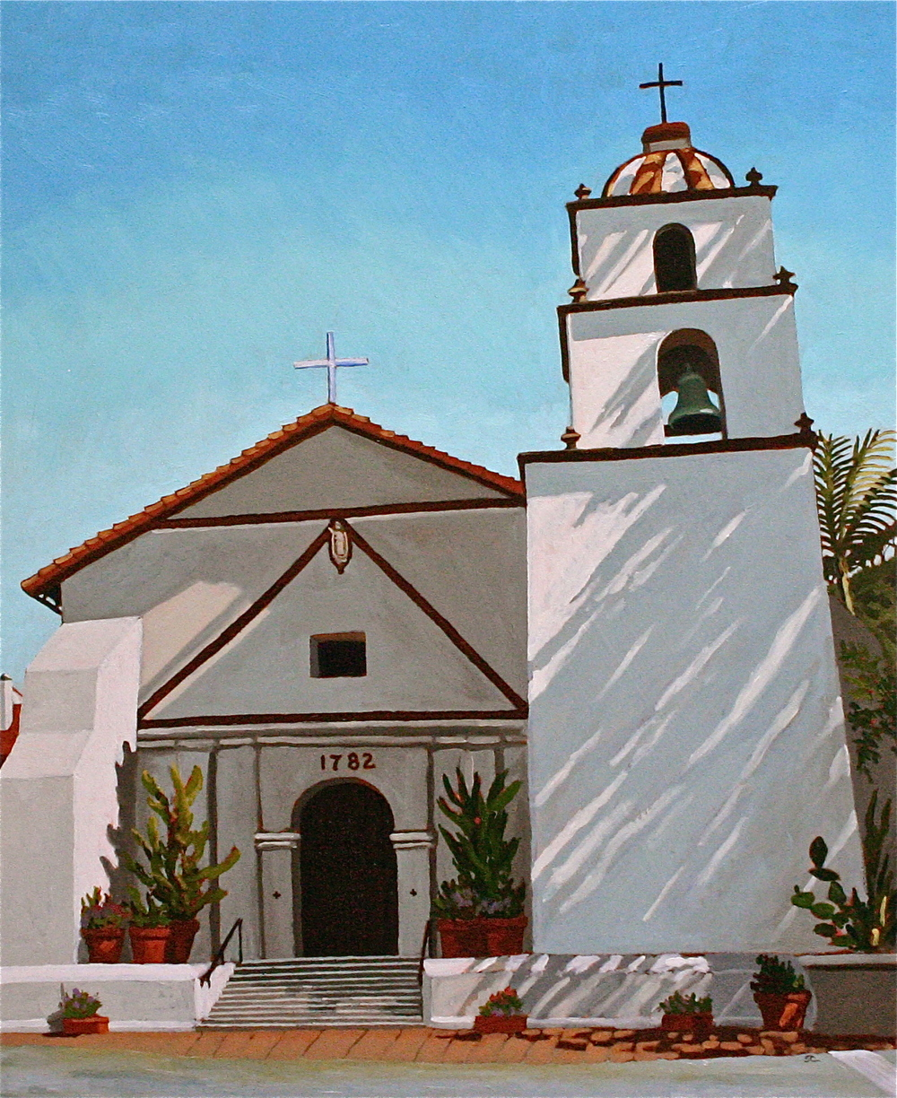 """Mission San Buenaventura"" oil on birch panel 24 x 30 SOLD"