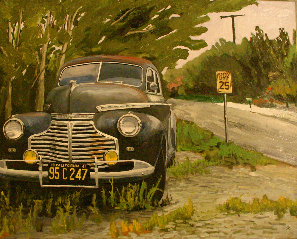 """The Getaway Car"" oil on canvas 24 x 30"