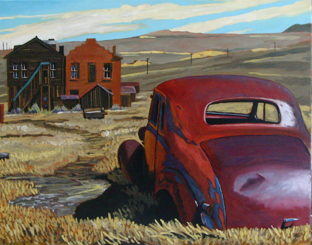 """Ghost Town Stand-off"" oil on canvas 22 x 28, sold"