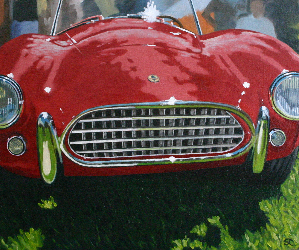 """Reflections on a Cobra"" oil on canvas 22 x 28, sold."