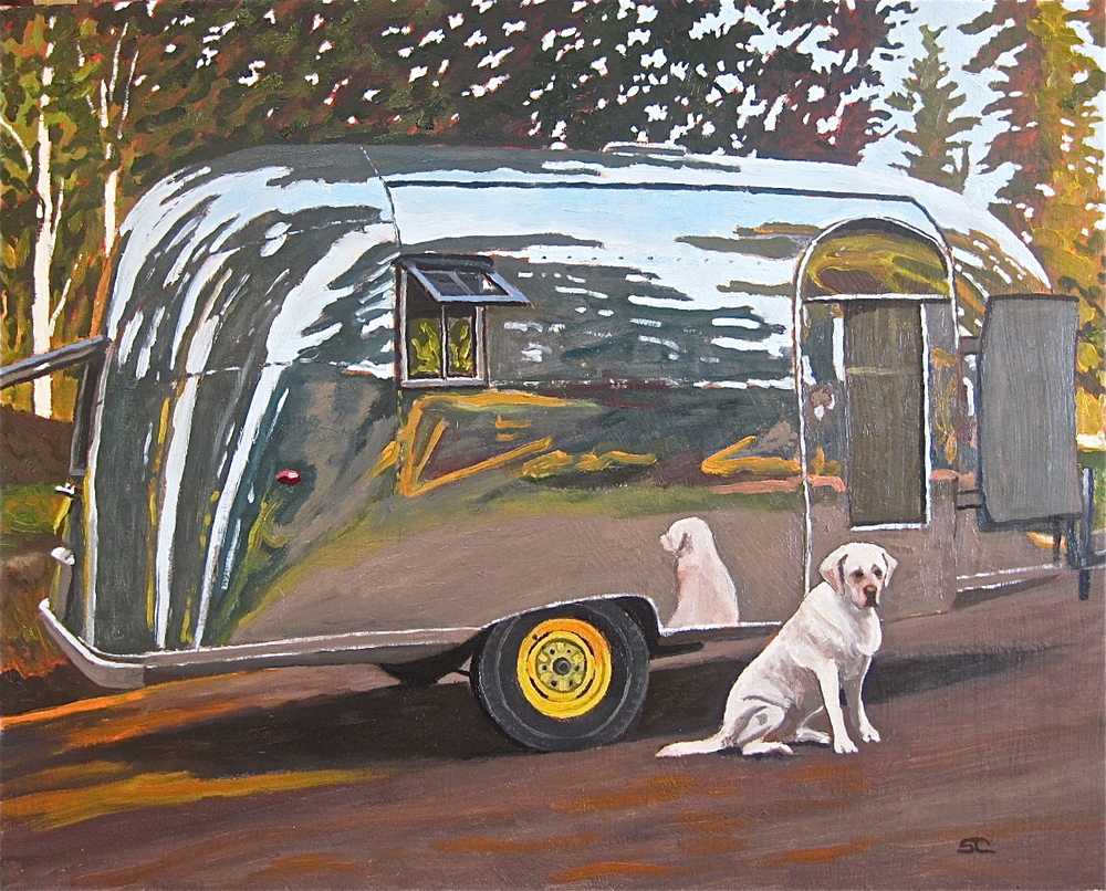 """Cooper, Camping"" oil on panel 16 x 20, sold."