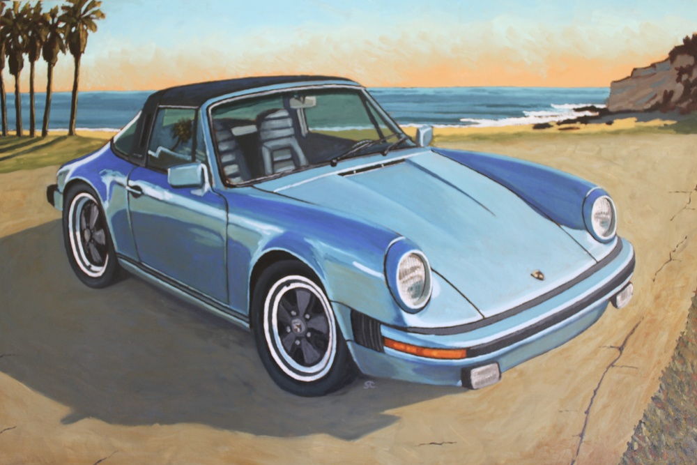 """Ken's Targa"" oil on canvas 24 x 36, sold."