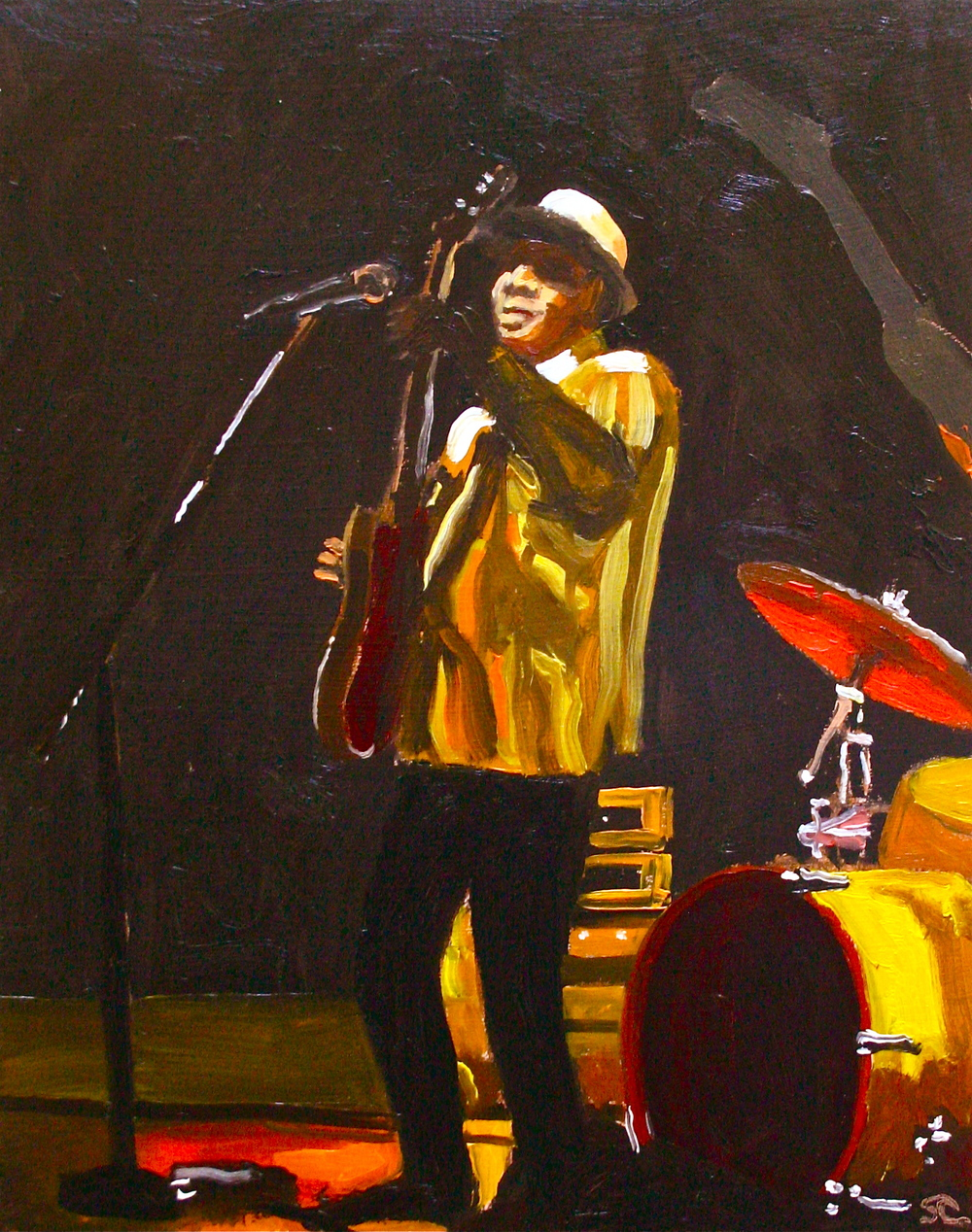 """Hey Mister Bluesman"" oil on panel 8 x 10, sold"