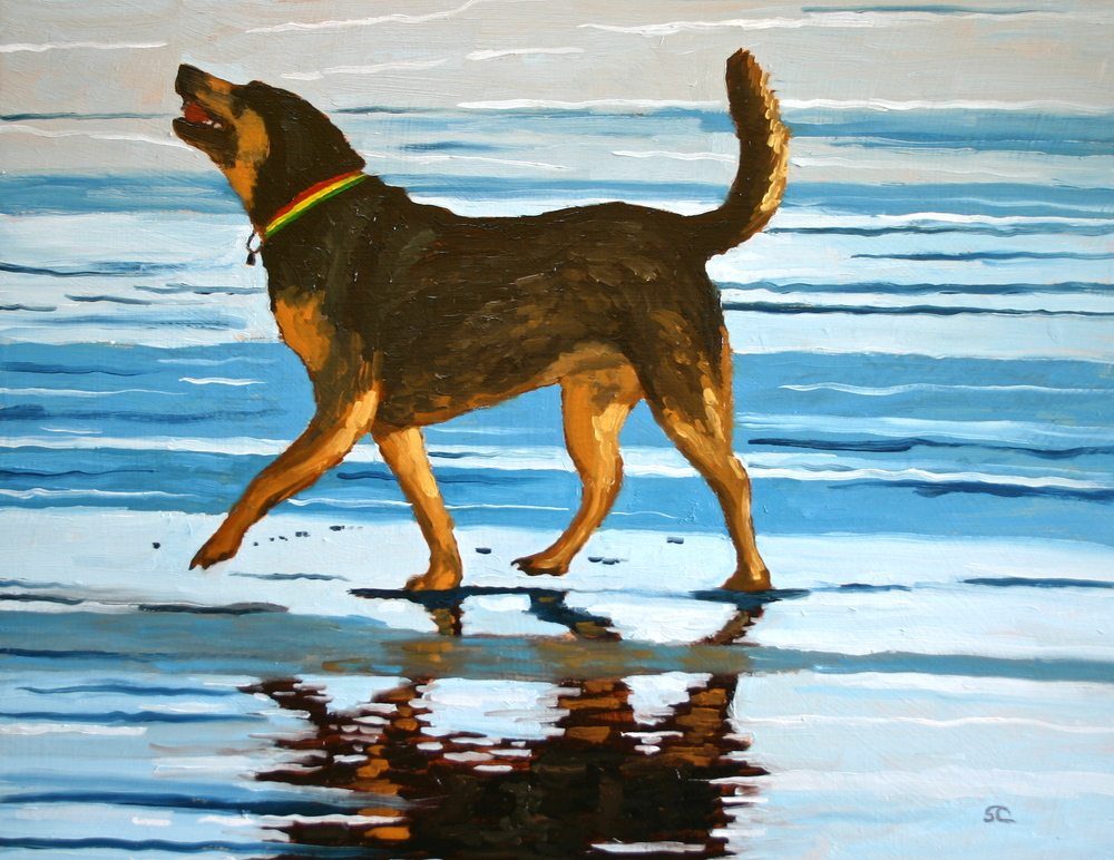 """Happy Dog"" oil on panel 14 x 18, collection of the artist"