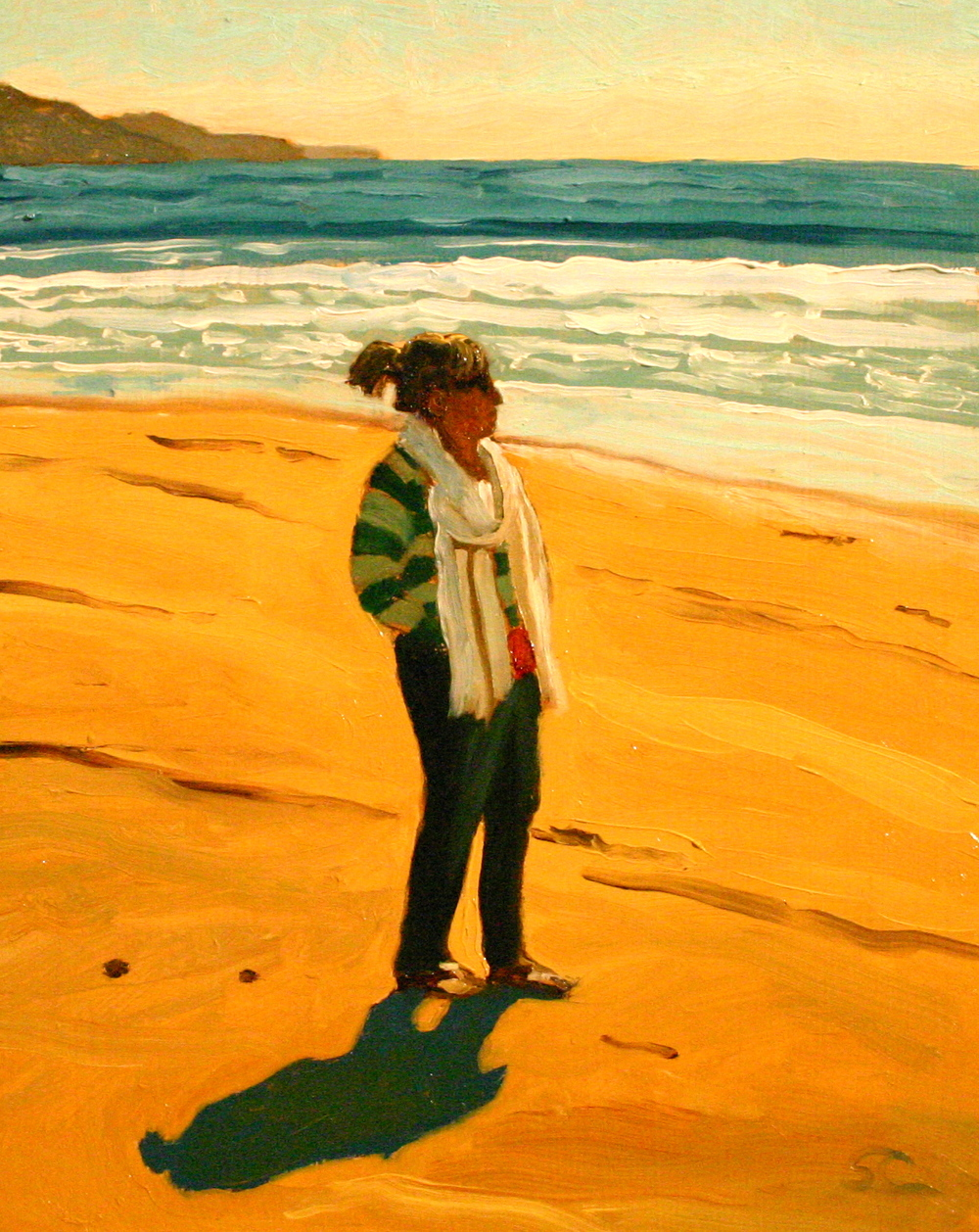 """Carol at Ano Nuevo"" oil on panel, collection of the artist."
