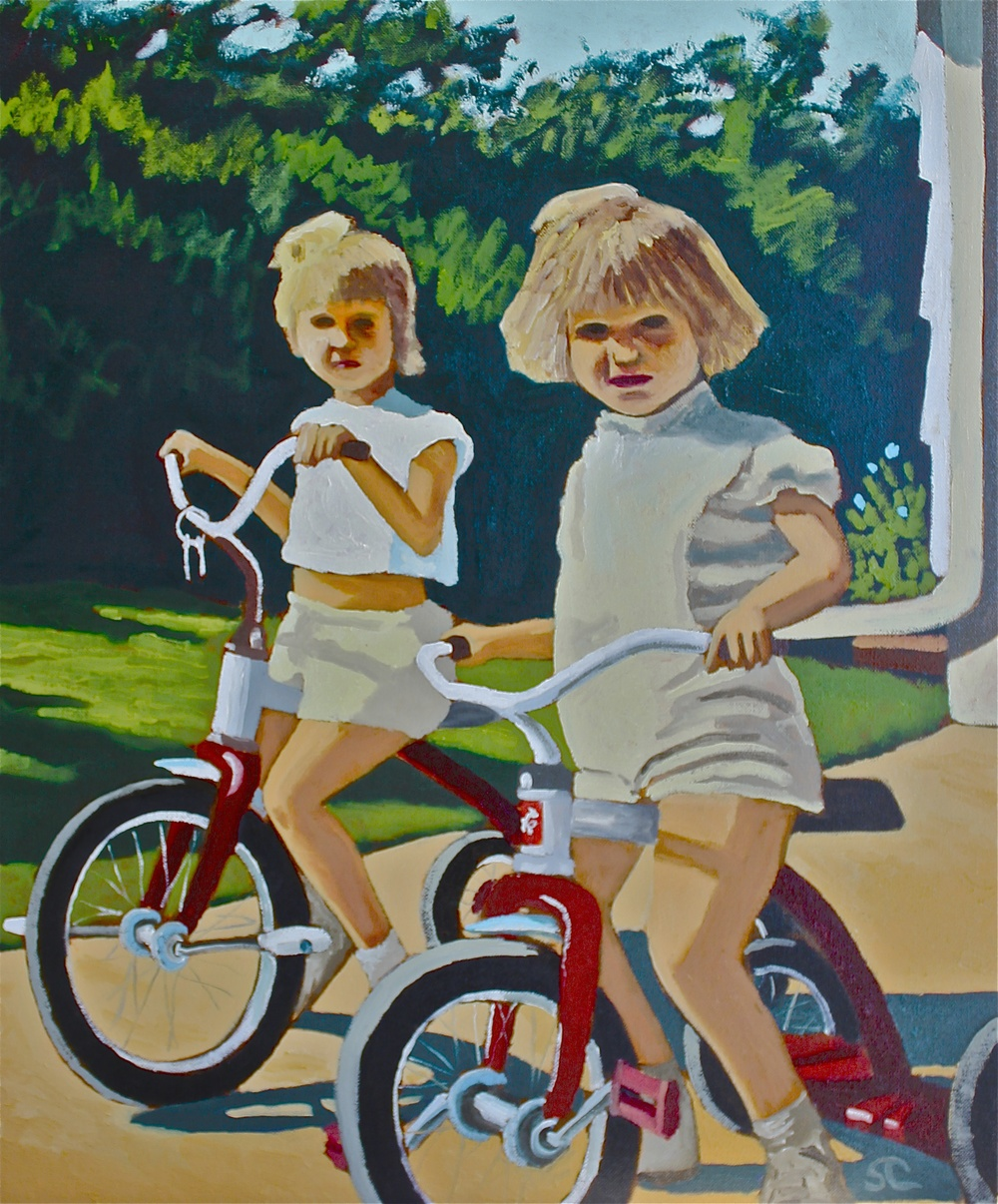 """Biker Chicks"" oil on canvas 16 x 20, sold"