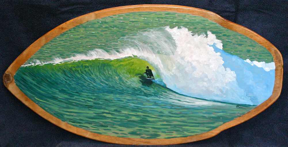 """Secret Spot"" oil on skimboard"