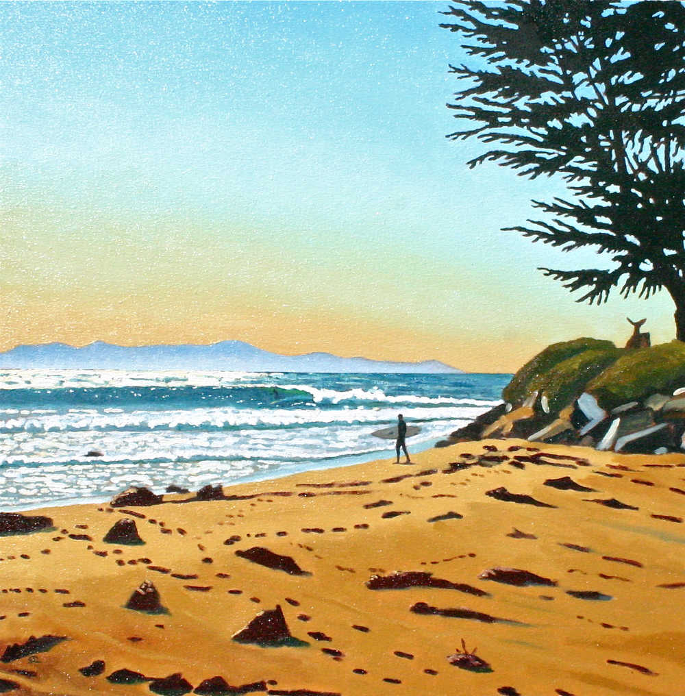 """Rincon Rivermouth"" oil on canvas 28 x 28"