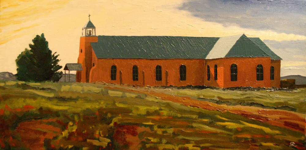 """La Iglesia Sagrado Corazon, Costilla, NM"" oil on canvas 18 x 36"