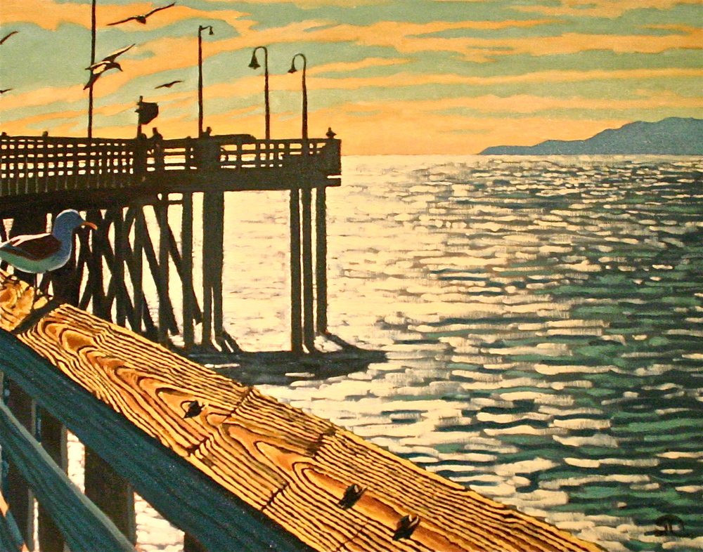 """Afternoon on the Pier"" oil on canvas 22 x 28 sold"