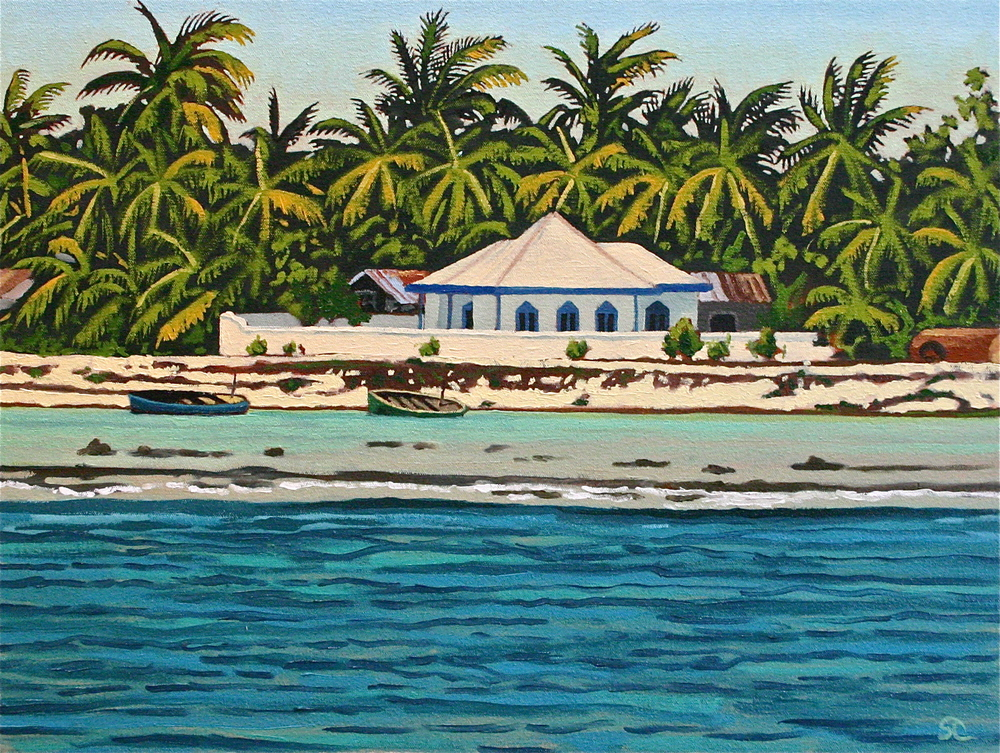"""Mosque at Ghaadoo in The Maldives"" oil on canvas 16 x 20 sold"
