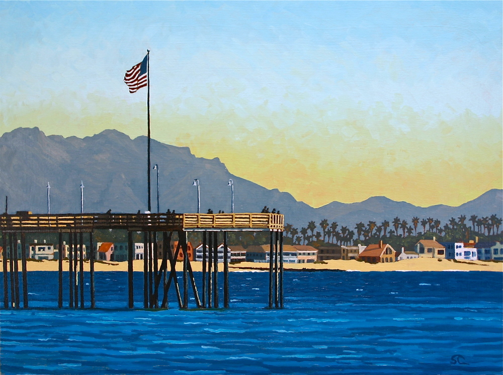 """The Pier on Memorial Day"" oil on canvas 24 x 32 sold"