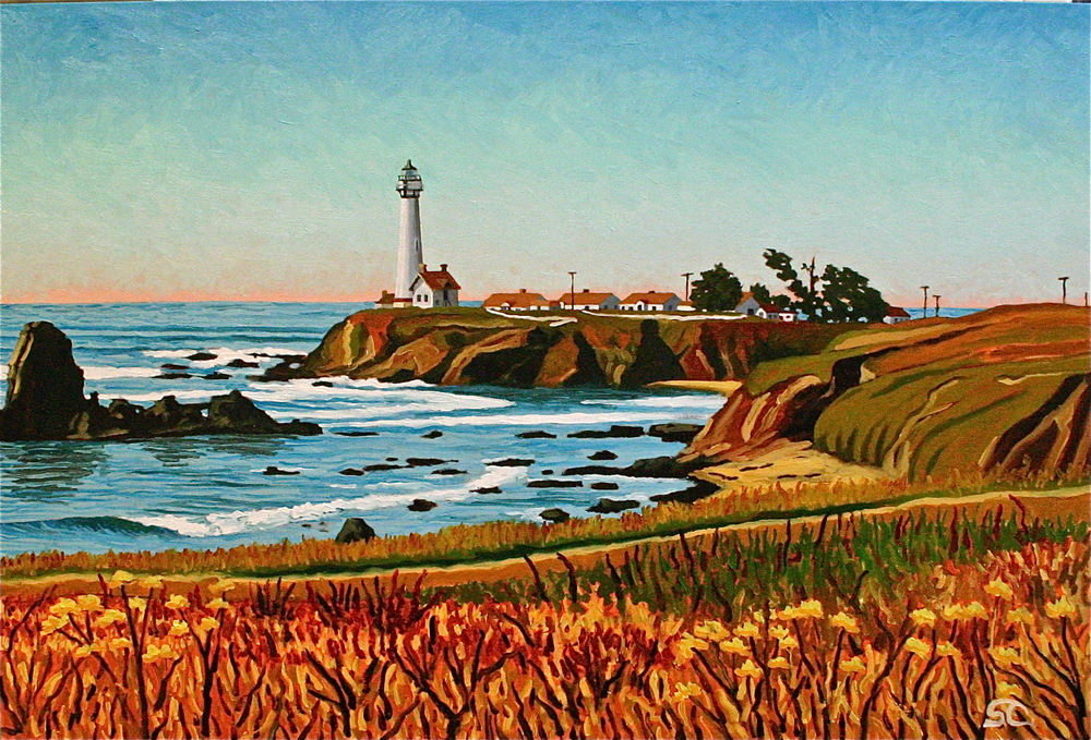 """Pigeon Point Lighthouse"" oil on canvas 24 x 36 sold"