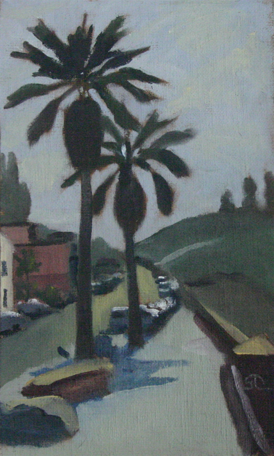 """Foggy Palms"" oil on panel 5 x 8 sold"