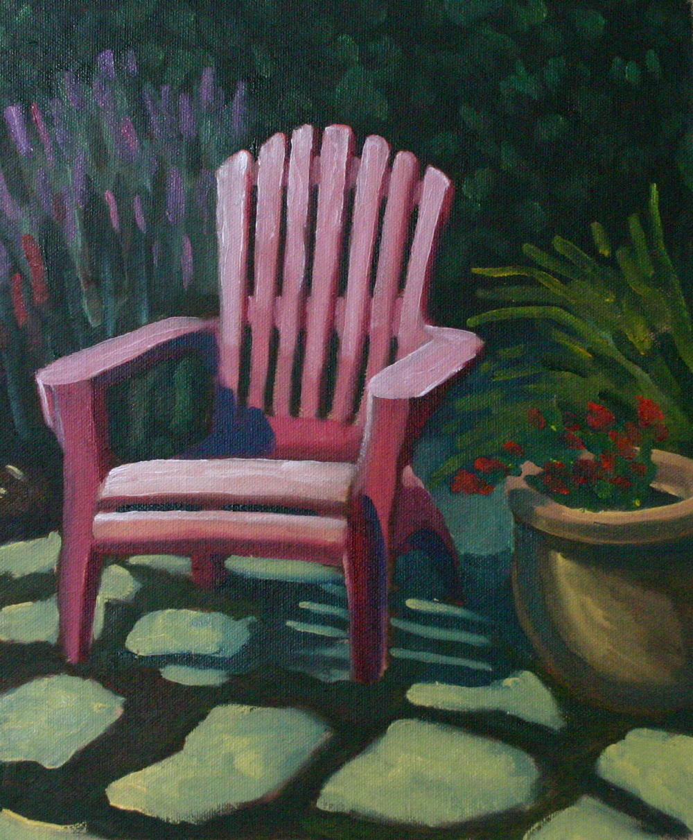 """Backyard Chair"" oil on panel 10 x 12"