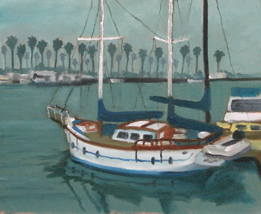"""Foggy Day at the Harbor"" oil on panel 10 x 12"
