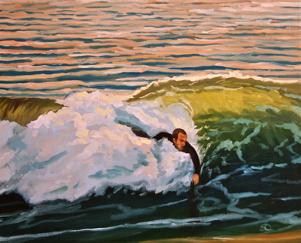 """The Body Surfer"" oil on canvas 16 x 20"