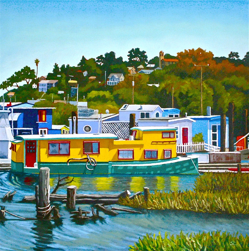 """Just a Houseboat in Saucalito"" oil on canvas 36 x 36"